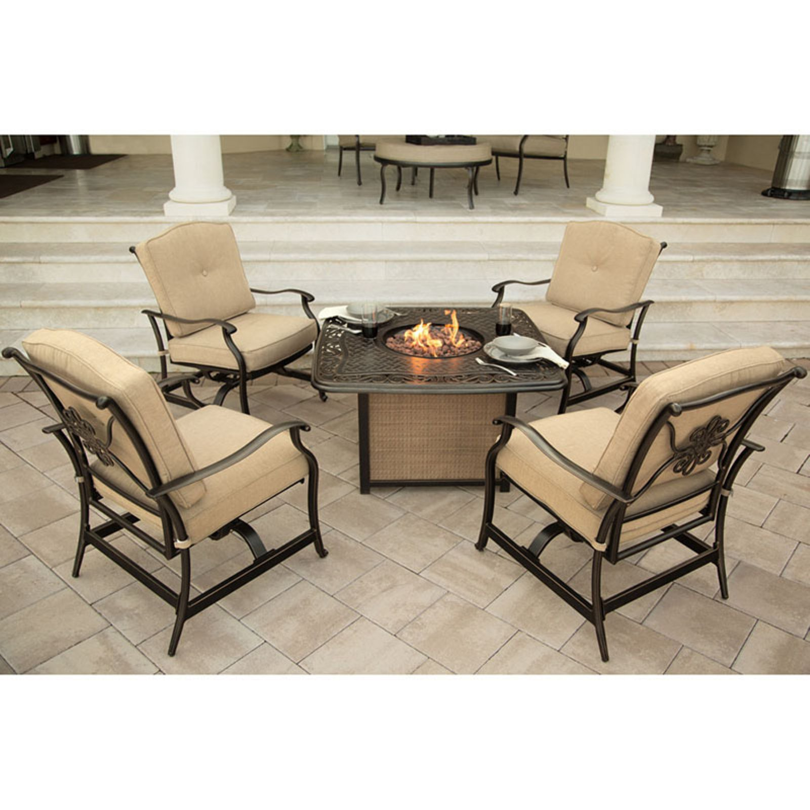 Hanover Outdoor Traditions 5-Piece Cast-Top Fire Pit Conversation Set, Natural Oat/Bronze
