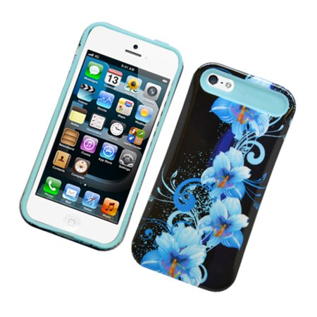 - Insten Night Glow Flowers Jelly Plastic/Silicone Case Cover for Apple iPhone 5/5S, Black/Blue
