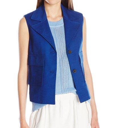 ANNE KLEIN Womens Blue Pocketed Button Down Wear To Work Jacket  Size:
