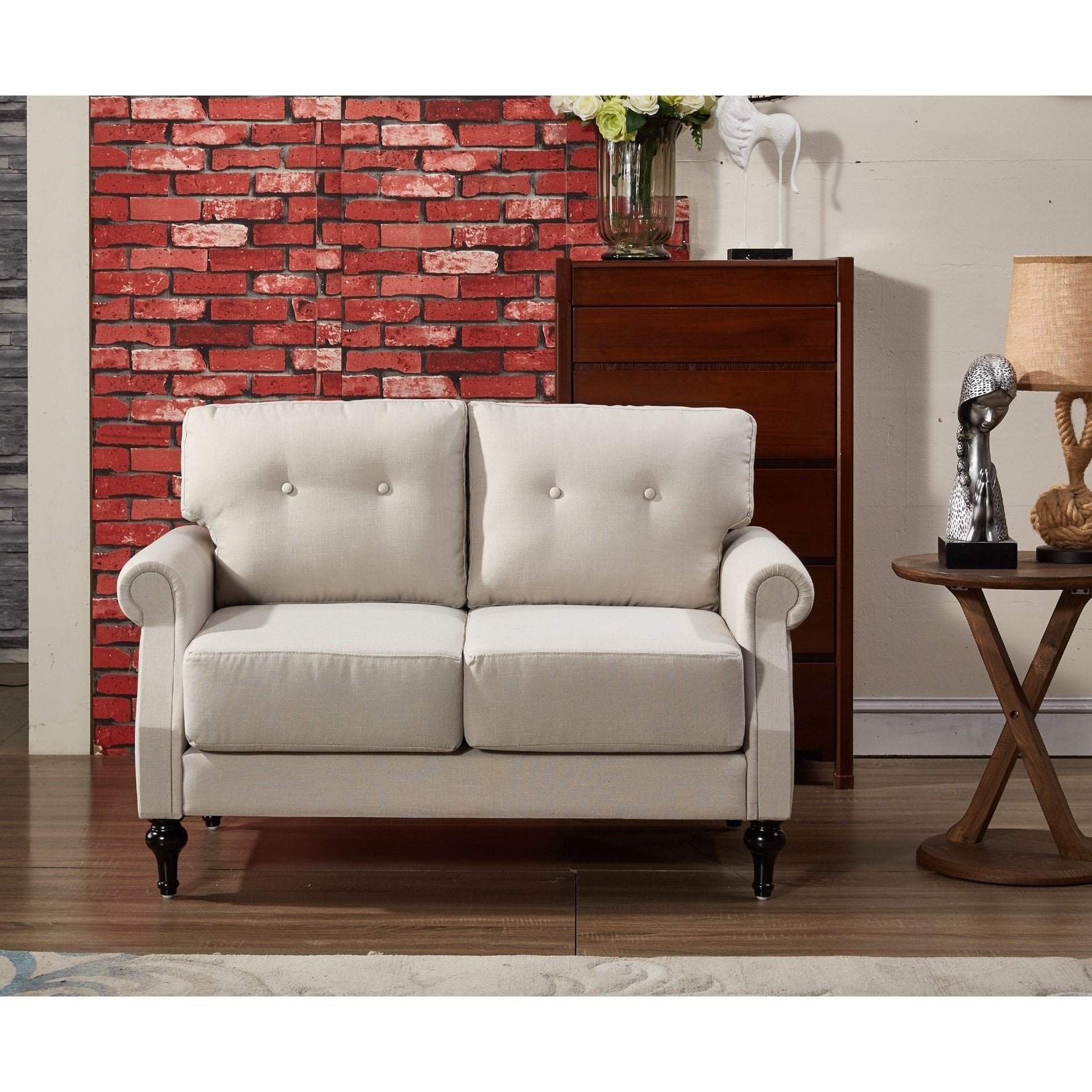 US Pride Furniture Iva Mid Century Linen Fabric Button-tufted Upholstered Loveseat