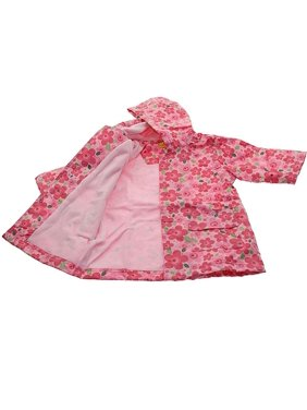 Girls Cute Pink Floral Print Lined Raincoat 4/5