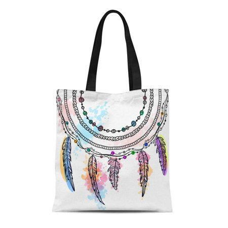 ASHLEIGH Canvas Tote Bag Feathers Tribal Hipster Zentangle Doodle Coloring Tattoo Watercolor Boho Durable Reusable Shopping Shoulder Grocery (Best Tribal Shoulder Tattoos)