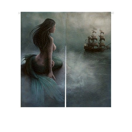 GCKG Mermaid and the Sailing Ship Japanese Noren Doorway Curtain Doorway Curtain Door Curtain Entrance Curtain Size 85x90cm ()