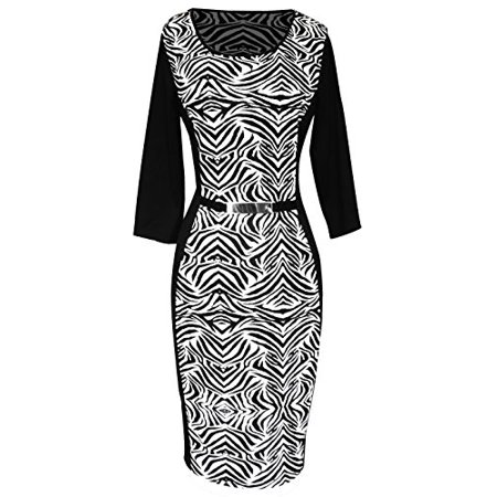 Couture Zebra - Peach Couture 3/4 Sleeves Chic Printed Work Business Party Sheath Slimming Dress Zebra XL