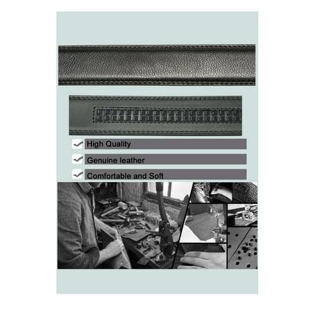 Mens Automatic Sliding Buckle Ratchet Leather Belt 35mm Black 115cm - image 3 of 6
