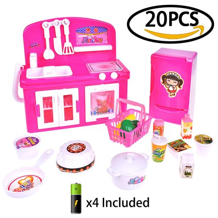 Girl's Toy Kitchen Home Mini Appliances for Kids Gift Pretend Role Play Educational Toys Refrigerator, Stove, Oven Cooker and Food 20 PCs F-63