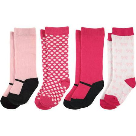 4afcdcd20 Luvable Friends - Newborn Baby Girls Knee High Socks 4 Pack - Walmart.com