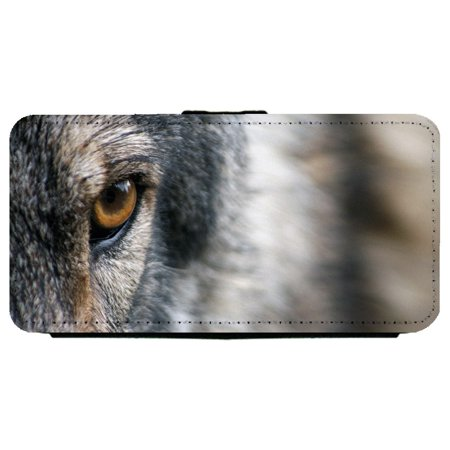 Close-up of The Eye of Wolf Samsung Galaxy S8 Plus Leather Flip Phone Case