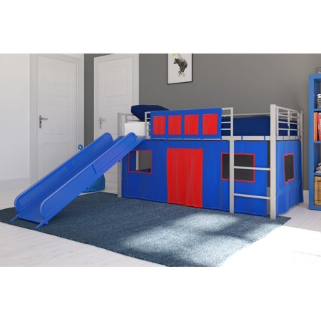 Loft Set - DHP Junior Silver Loft Bed with Blue Slide and Blue Curtain Set, Kid's Bundle, Twin