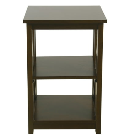 HomePop Square Wood Accent Table with Shelf Storage - Dark Walnut 4 Square Dark Wood