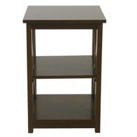 HomePop Square Wood Accent Table with Shelf Storage - Dark Walnut