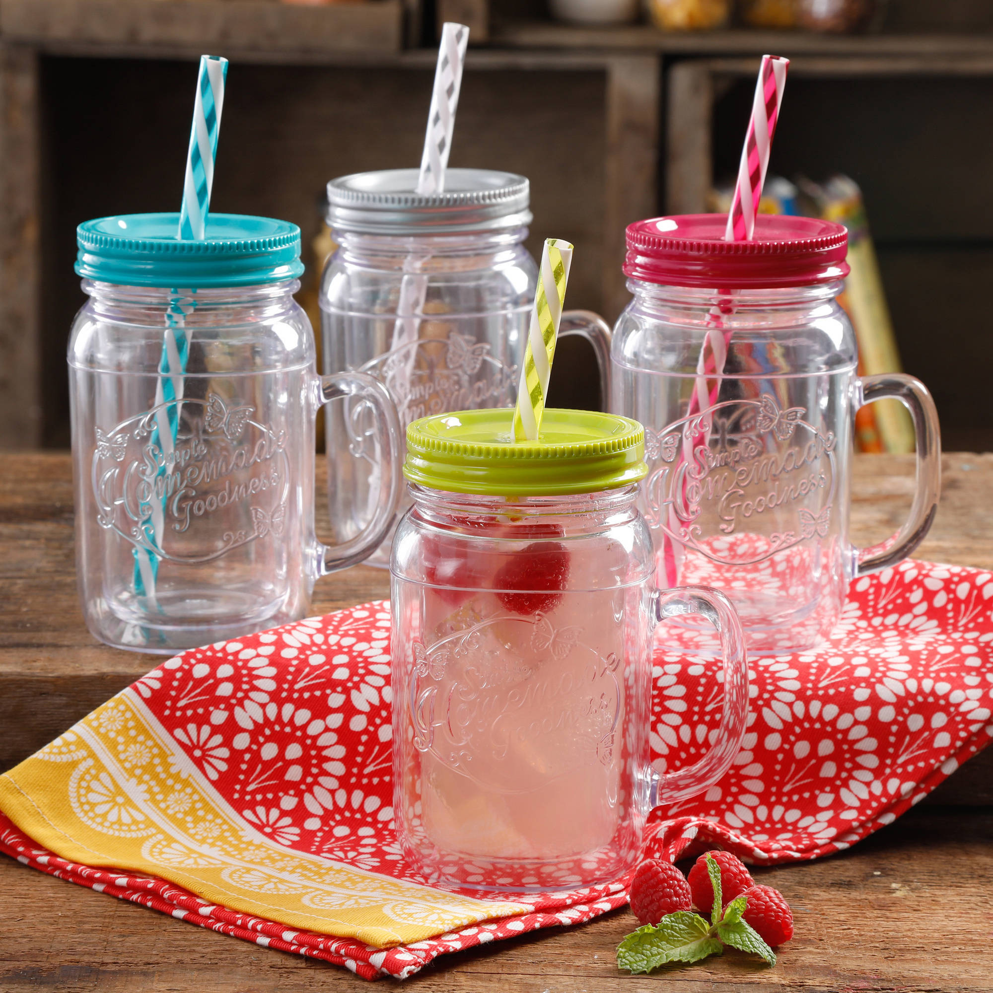 The Pioneer Woman Simple Homemade Goodness Assorted 16-Ounce Double-Wall Mason Jar with Lid and Handle, Set of 4