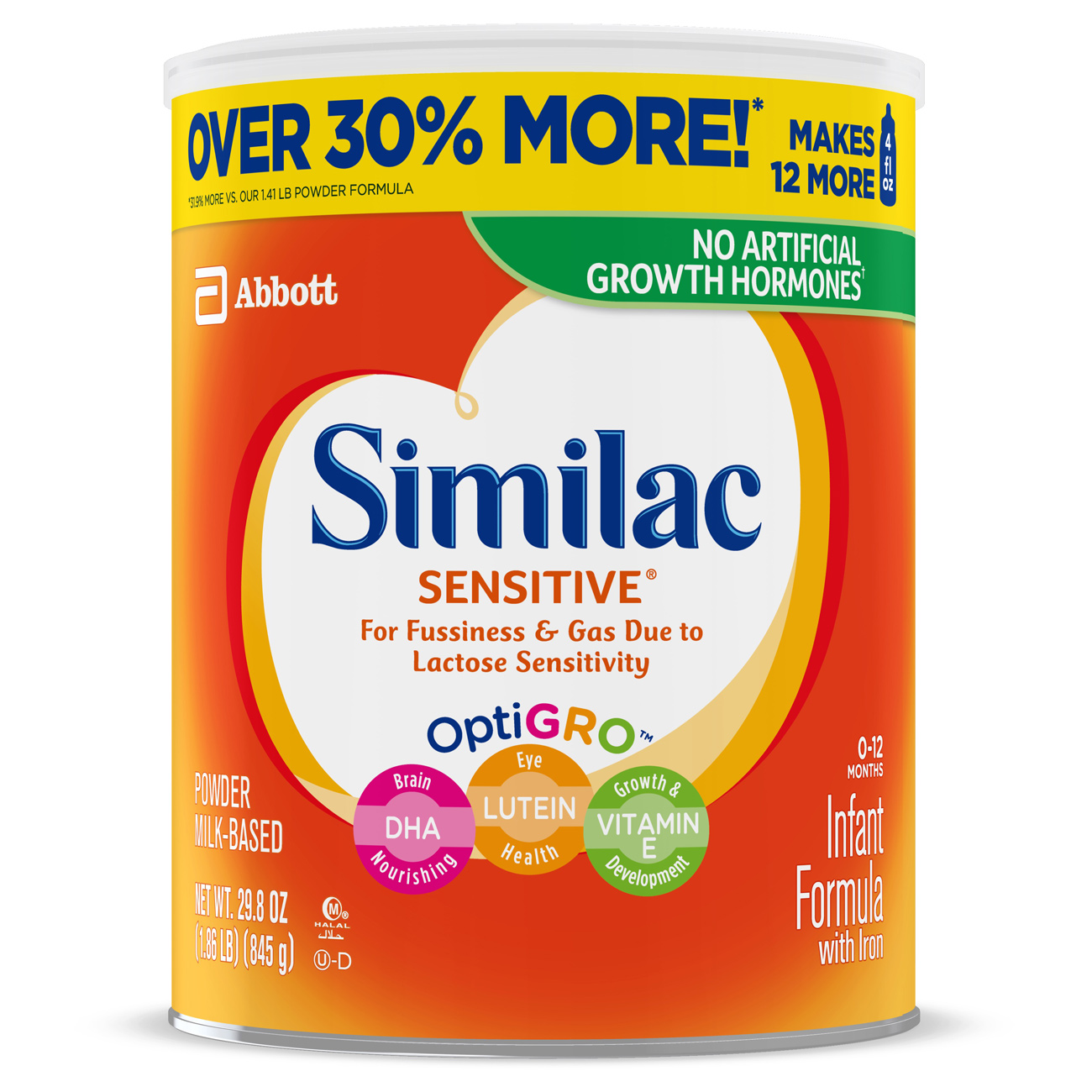 Similac Sensitive Infant Formula with Iron, Powder, 1.86 lb (Pack of 6)