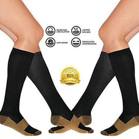 Compression Baseball Socks - 2 Pair Copper Compression Socks Black Knee High for Women & Men Anti Order Nursing Compression Socks FREE Eyeglass Pouch by As Seen on TV (Small/M)