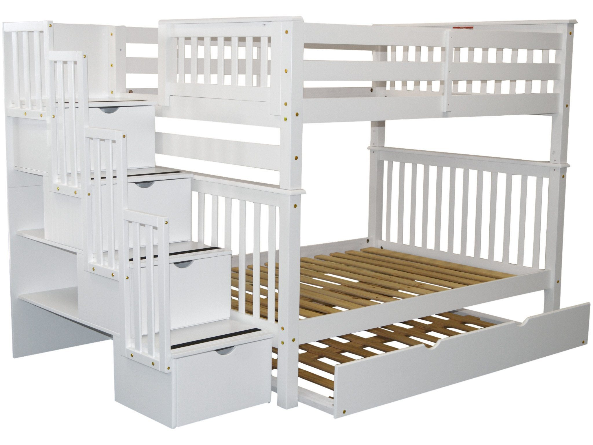 Bedz King Stairway Bunk Beds Full Over Full With 4 Drawers In The Steps And A Full Trundle White Walmart Com Walmart Com