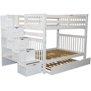 Bedz King Stairway Bunk Beds Full over Full with 4 Drawers in the Steps and a Full Trundle, White