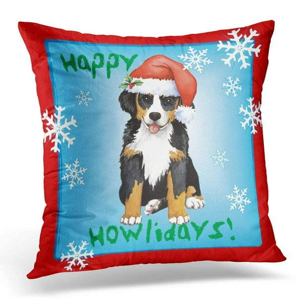 Bpbop Bernese Happy Berner Mountain Dog Sennenhund Cattle Christmas Pillowcase Cushion Cover 20x20 Inches Walmart Com Walmart Com