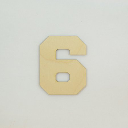 1 Pc, 4 Inch X 1/4 Inch Thick Collegiate Font Wood Numbers 6 Easy To Paint Or Decorate For Indoor Use - Pp Numbers