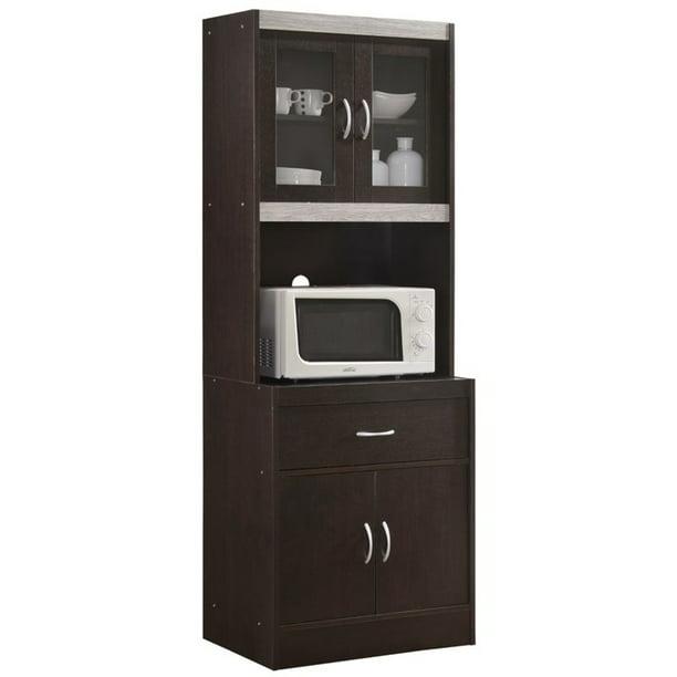 Pemberly Row Kitchen Cabinet In Chocolate Gray Walmart Com Walmart Com