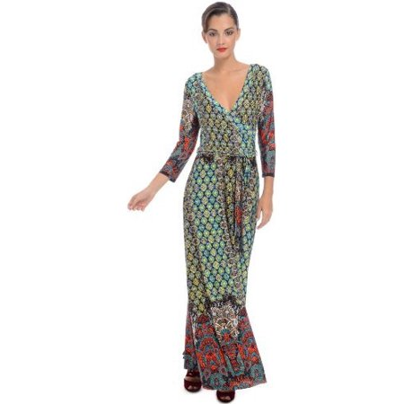 Mock Wrap Jersey Dress - Moroccan Jersey Wrap Maxi Dress