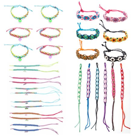 30 PCs Friendship Bracelets for Girls, Teens, Women - Handmade Woven Friendship Bracelet Bulk Set with 12 Party Favor Bags - Great for Gifts - Silicone Bracelets Bulk