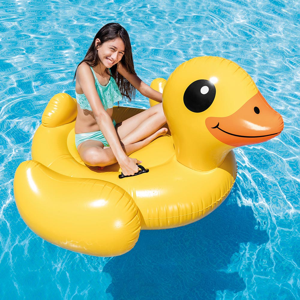 "Intex Inflatable Yellow Duck Ride-On Pool Float, 58"" x 58"" x 32"""