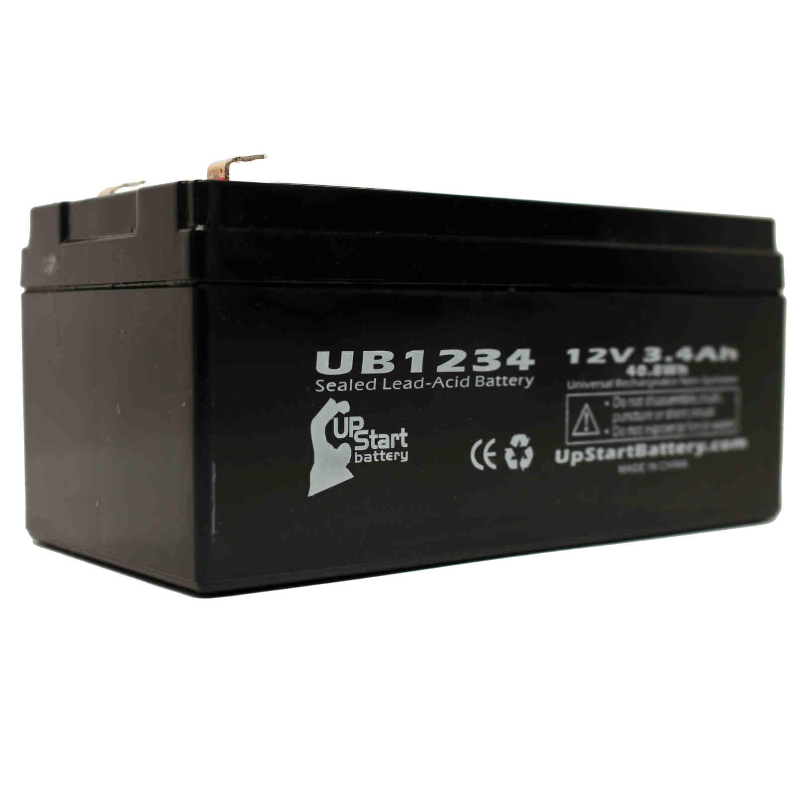 APC 35 Battery Replacement - UB1234 Universal Sealed Lead Acid Battery (12V, 3.4Ah, 3400mAh, F1 Terminal, AGM, SLA) - Includes TWO F1 to F2 Terminal Adapters - image 2 de 4