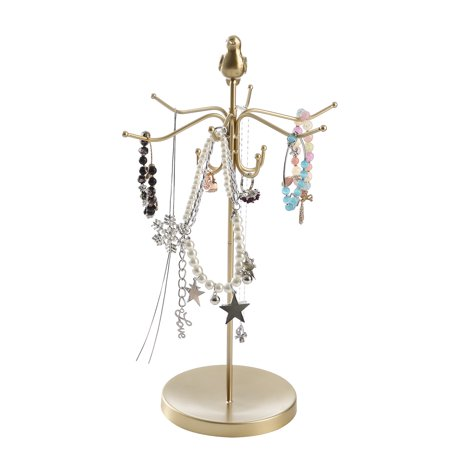 Gold Modern Metal Rotating Tabletop Bracelet Necklace Jewelry Organizer Display Tree Tower Rack Write A Review