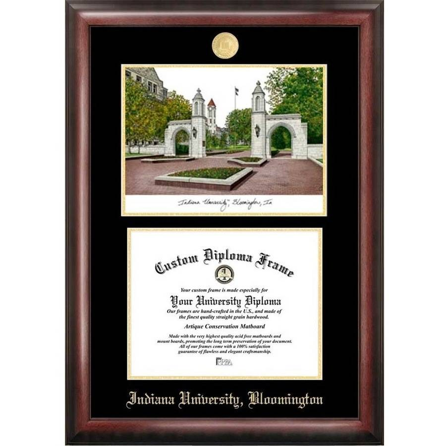 "Indiana University, Bloomington 8.5"" x 11"" Gold Embossed Diploma Frame with Campus Images Lithograph"