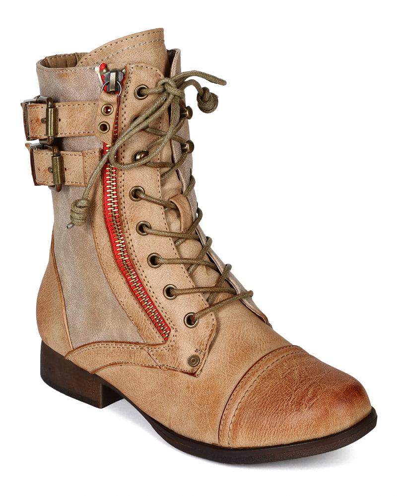 Liliana BH76 Women Burnish Leatherette Zipper Lace Up Combat Riding Boot