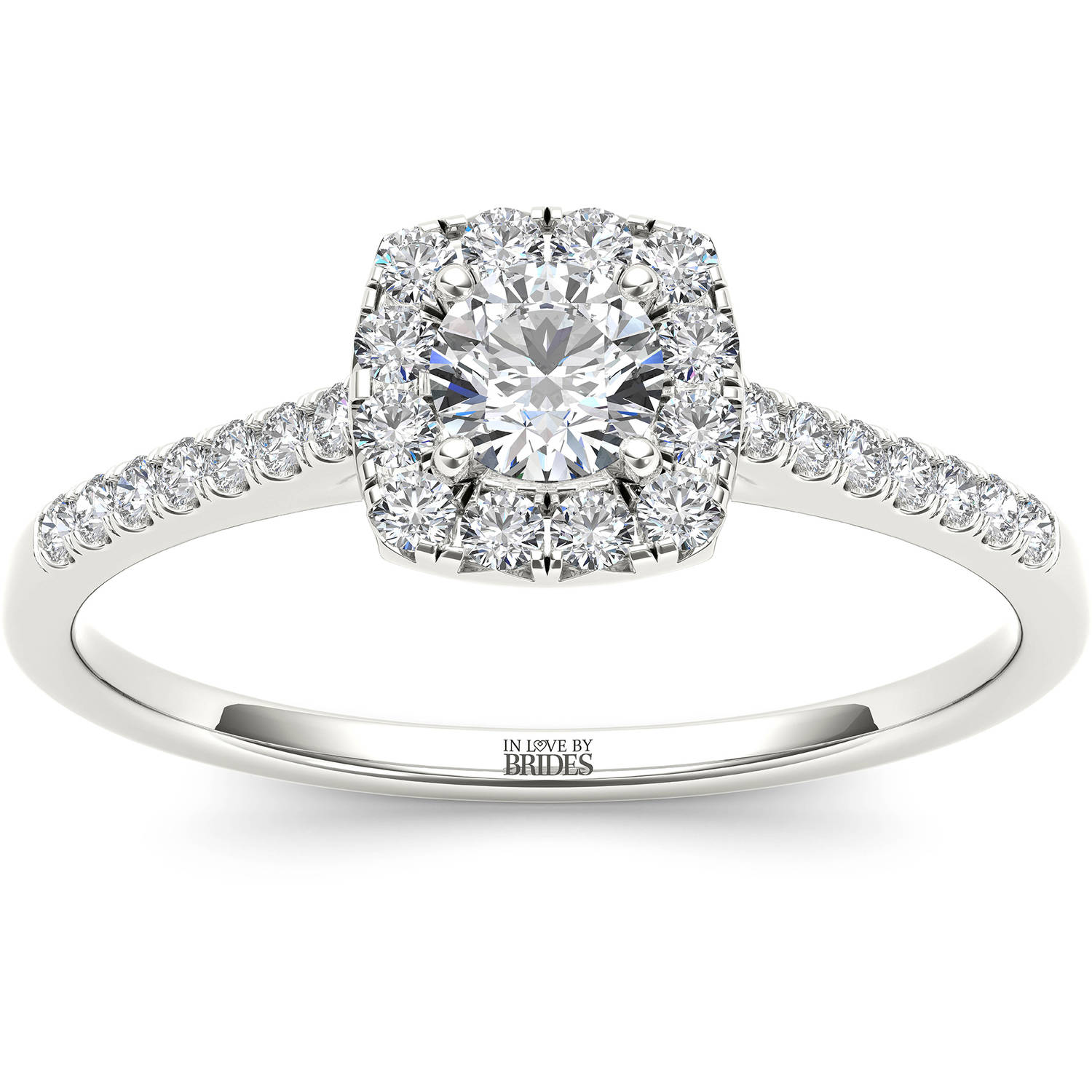 IN LOVE BY BRIDES 3/8 Carat T.W. Certified Diamond Cushion Halo 14kt White Gold Engagement Ring