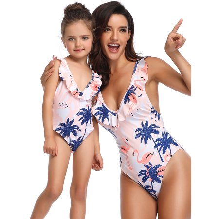 2019 New Mommy and Me swimwear Family Matching One Piece Swimming Costume Swimwear Swimsuit Mom Daughter Women Kids Girl Bikini Set Bathing Suit Backless Pink Floral