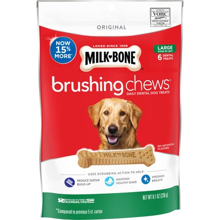 Milk-Bone Brushing Chews Daily Dental Dog Treats, Large, 8.1 Oz., 6 Bones Per Bag
