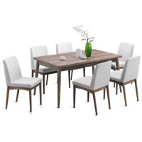 Costway 7 Pcs Dining Table Set Wooden Frame Desk & 6 Fabric Upholstered Chair Kitchen