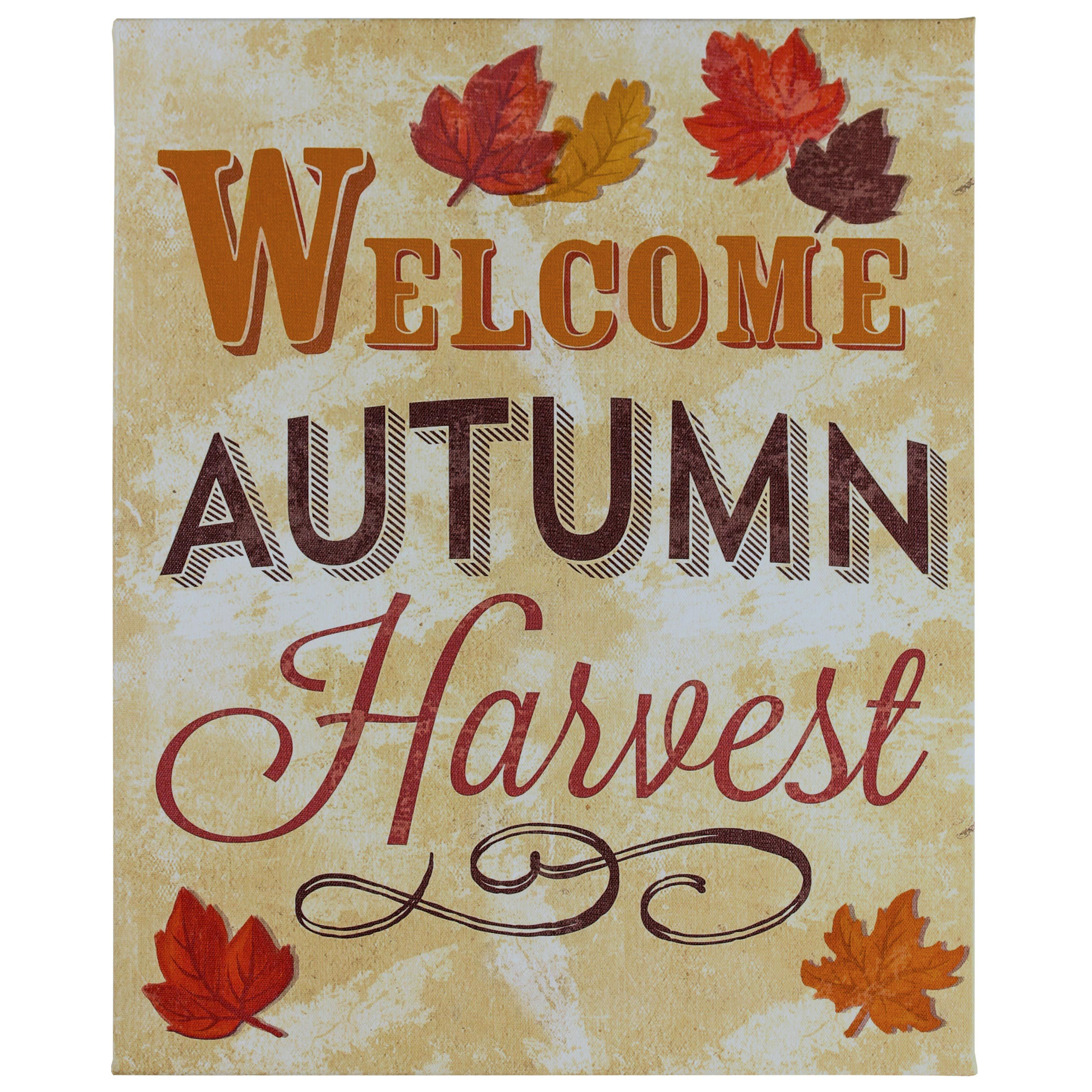 """Welcome Autumn"" Fall Decor Wrapped Canvas Wall Art, 15"" x 19"""