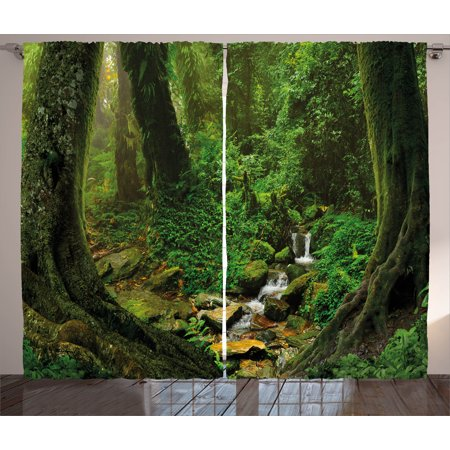 Nature Curtains 2 Panels Set, Wonderland Forest Nepal Asian Jungle Rainforests Habitat Wild Primeval Picture Print, Window Drapes for Living Room Bedroom, 108W X 108L Inches, Green, by (Asian Single Light)
