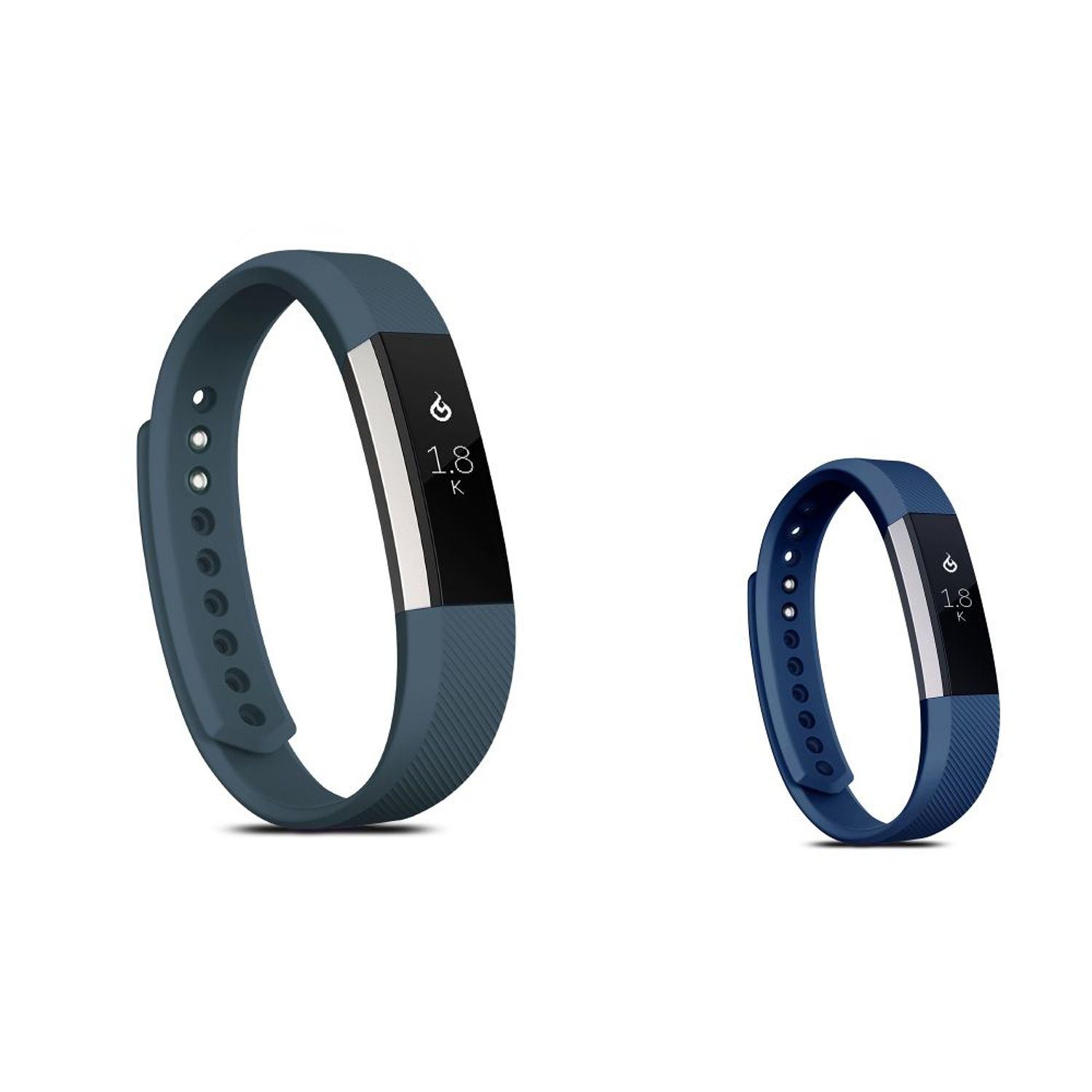 Fitbit Alta HR and Fitbit Alta Replacement Bands LARGE Size 2 PCS BUNDLE SET, by Zodaca Soft TPU Rubber Adjustable Wristbands Watch Band Strap For Fitbit Alta HR / Alta LARGE Size - Dark Gray + Navy