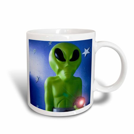 Rays Mug - 3dRose Green alien with ray, Roswell, New Mexico - US32 JMR0111 - Julien McRoberts, Ceramic Mug, 15-ounce