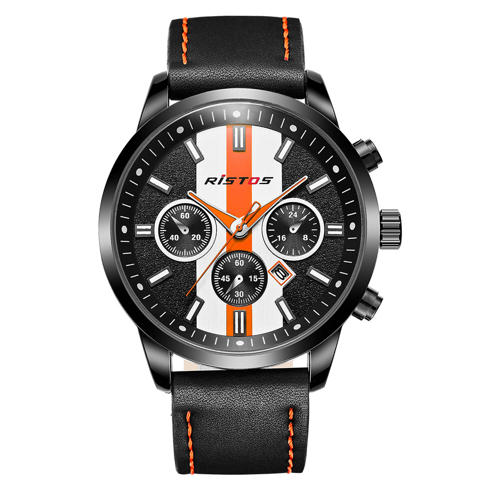 Men Fashion Waterproof Circle White Dial Black Leather Watchband Collection Wrist Calendar Swimming Sports Watch by