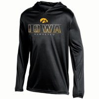 Youth Russell Athletic Black Iowa Hawkeyes V-Neck Pullover Hoodie