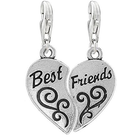 Two Piece Heart Best Friends Clip on Pendant Charm for Bracelet or