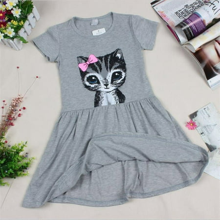 Cute Cat Summer Toddler Baby Girls Princess Dress Party Kids Tulle Tutu