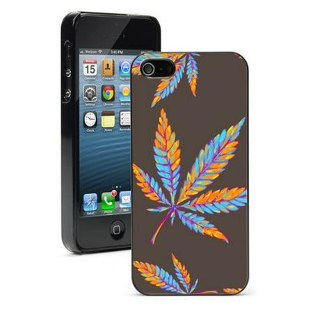 For Apple iPhone SE Hard Back Case Cover Marijuana Leaves Pattern (Black) (Marijuana Leaf Case)