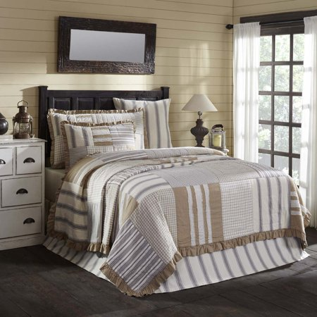 creme white farmhouse bedding vintage stripe cotton pre-washed patchwork cotton burlap queen quilt