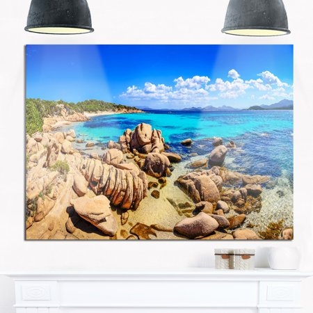 DESIGN ART Coastline Panorama - Beach and Shore Photo Glossy Metal Wall Art