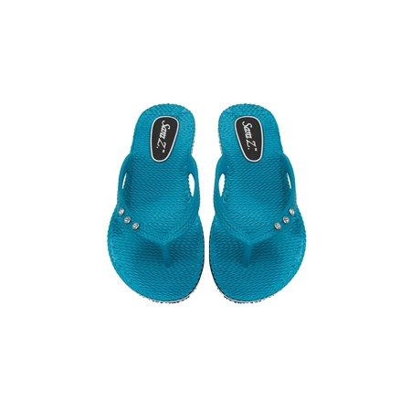 Sara Z Womens Racing and Rhinestones Size Braided Texture Flip Flops 5/6 Turquoise - Flip Flop Cut Outs