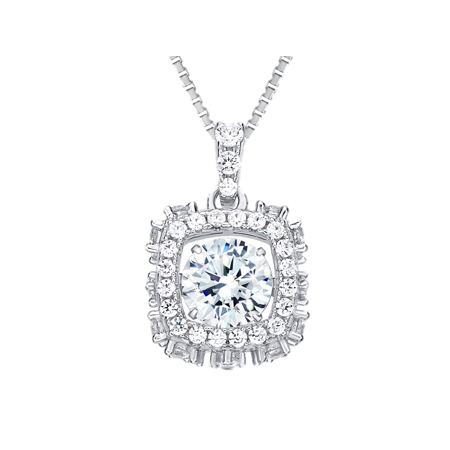 Silver Plated Star Shape - Rhombus Shape Silver Dancing Stone (CZ) Pendant Platinum Plated w/ Chain