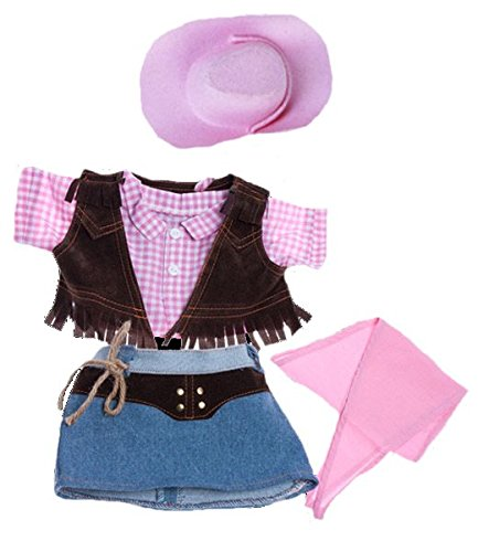 "Cowgirl w Pink Cowgirl Hat and Pink Scarf Outfit Teddy Bear Clothes Fits Most 14""... by Teddy Mountain"