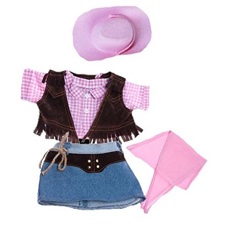 Cowgirl w/Pink Cowgirl Hat and Pink Scarf Outfit Teddy Bear Clothes Fits Most 14