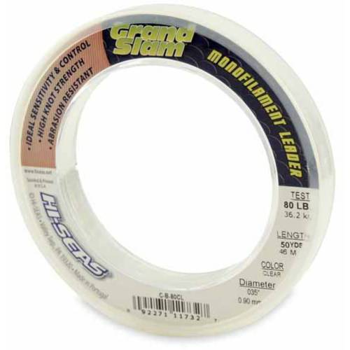 American Fishing Wire Hi Seas Grand Slam 50 Yards 80 Lb  0 0035  Monofilament Leader  Clear
